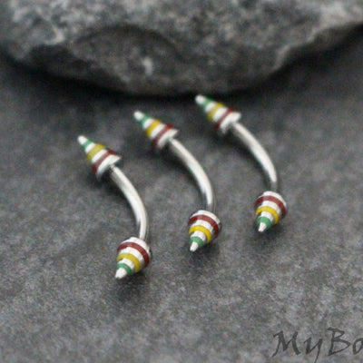 Jamaican Curved Barbell 16G for Rook Piercing Jewelry, Eyebrow Jewelry, Daith Ring, Nipple Ring, Lip Ring,  Bridge Piercing, Belly Button Ring, Rook Earrinh, Eyebrow Piercing, Daith Piercing, Snake Bites.