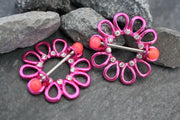 Neon Pink Daisy Flower Nipple Rings in 14G