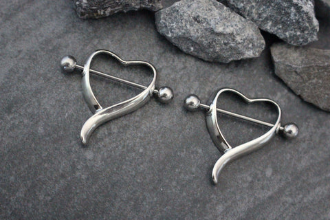 Heart Nipple Ring in 14G Silver