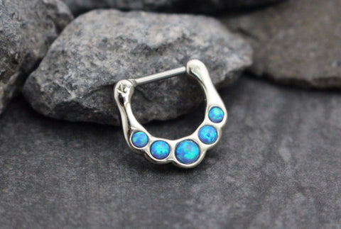 Blue Opal Clicker for Septum Clicker, Nipple Jewelry, Daith Piercing, Conch Hoop, Septum Ring 16G, Opal Septum Piercing, Daith Earring