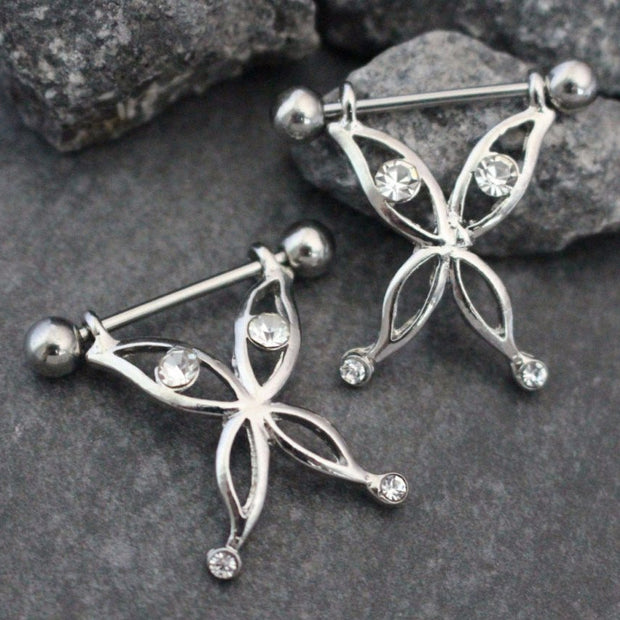 Crystal Dangling Butterfly Nipple Jewelry with 14 Gauge Nipple Barbell, Nipple Piercing, Nipple Ring, Nipple Jewelry, Nipple Jewellery, Nipple Bar, Nipple Barbell