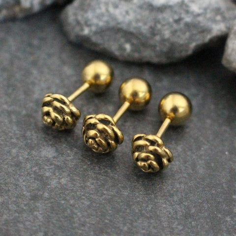 Rose Cartilage Piercing Jewelry, Conch Earring, Cartilage Stud, Conch Stud, Helix Piercing, Tragus Stud, Helix Jewelry, Tragus Jewelry, Cartilage Jewelry, Conch Piercing, Gold 16G Straight Barbell