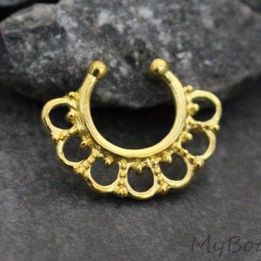 Tribal Fan Fake Septum Ring in Gold w/ 7 Hoop Design