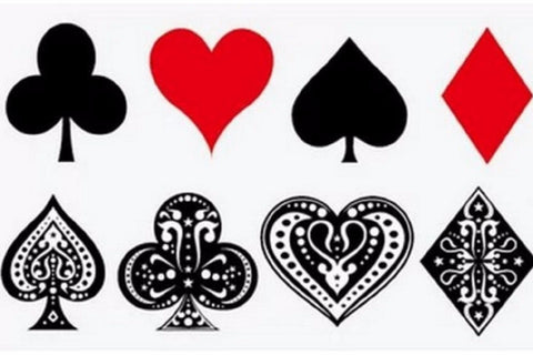 Temporary Tattoo Halloween, Small, Hearts, Aces, Spades, Diamonds, Poker