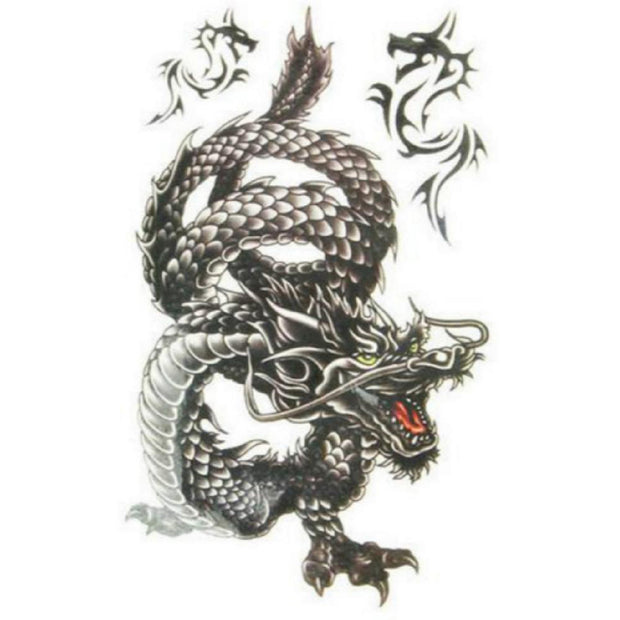 Cool Black Dragon Temporary Tattoo Ideas for Women - www.MyBodiArt.com