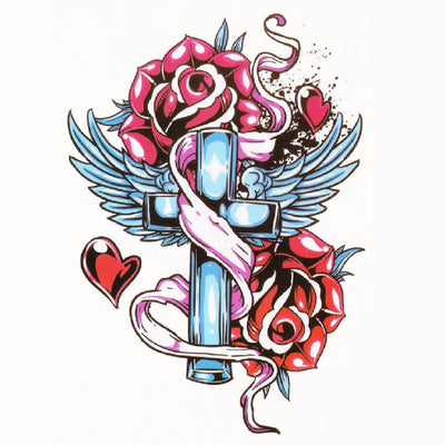 Cross Roses Temporary Tattoo Sleeve, Rocker Vintage Tattoo, Traditional, Cross, Roses, Flower, Floral, Large, Wings, Angel Wings, Heaven, Religious
