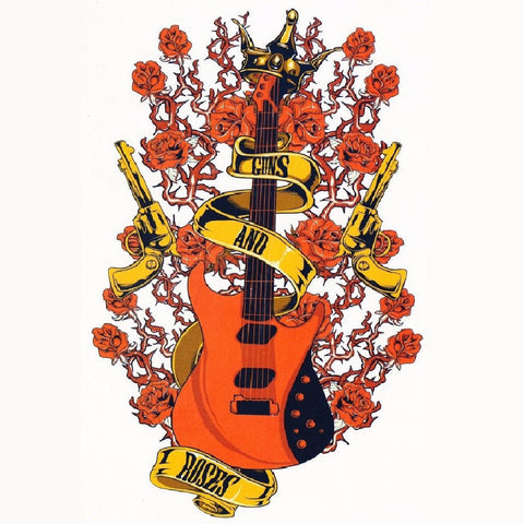 Temporary Tattoo Large, Arm Tattoo, Guns and Roses, Punk, Rock, Rock and Roll, Guitar Tattoo, Rose, Flower, Floral, Colorful, Watercolor