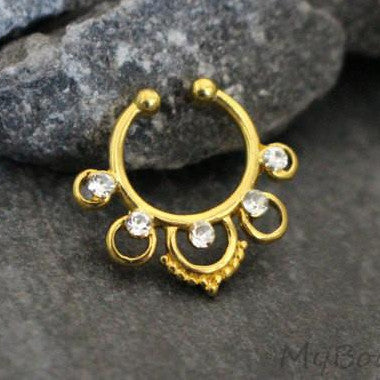 Tribal Fake Septum Ring in Gold with Ultra Shine Clear Crystals, Septum Jewelry, Faux Septum Ring, Fake Septum Jewelry, Septum Clip On, Septum Piercing Jewelry