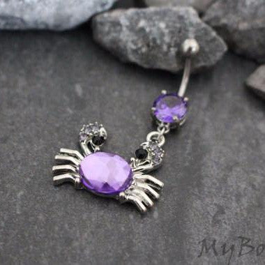 Purple Sea Crab Belly Button Jewelry in Silver