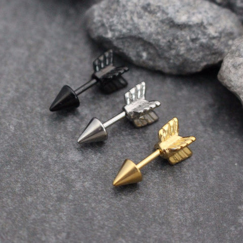 Arrow 16G Barbell in Gold / Silver / Blackline for Helix Earring, Cartilage Piercing, Conch Stud, Helix Stud, Cartilage Barbell, Cartilage Earring, Tragus Pierc