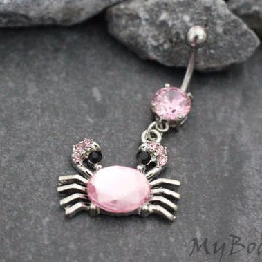 Pink Nautical Crab Dangle Belly Button Ring in Silver
