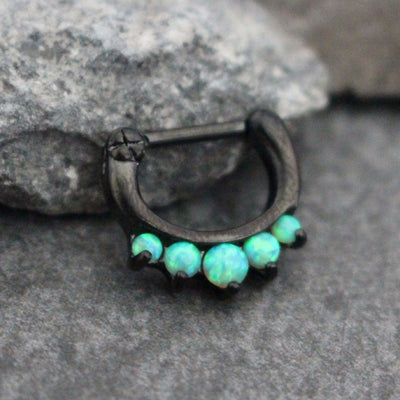 Blackline Septum Clicker with Green Opal, Opal Septum Ring, Septum Clicker Opal, Daith Piercing, Daith Earring, Rook Earring, Rook Piercing, Piercing, 16G, Blackline, Green