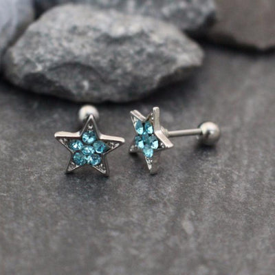 Blue Star Cartilage Stud, Tragus Flower, Helix Piercing, Conch Earring, Cartilage Earring, Tragus Stud, Helix Earring, Conch Piercing, Crystal Star