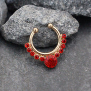Blood Red Grand Crystal Fake Septum Piercing in Rose Gold
