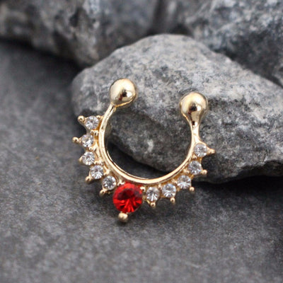 Rose Gold Fake Septum Ring with Red and Clear Crystals