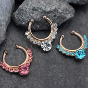 Grand Crystal Fake Septum Ring in Rose Gold or Gold w/ Ultra Shine Crystals (Clear, Pink, Blue, Red), Septum Jewelry, Fake Septum Piercing, Septum Clip On