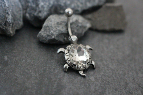 Clear Crystal Belly Button Ring