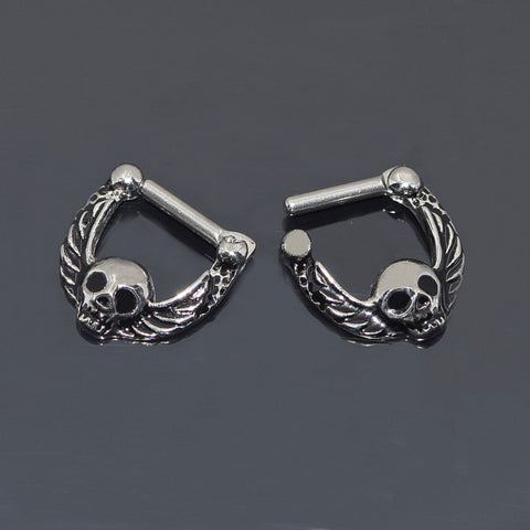 Septum Ring Clicker, Silver Septum Clicker, Septum Jewelry, Septum Piercing, Daith Piercing, Daith Ring, Skull & Wings, Punk, Tribal