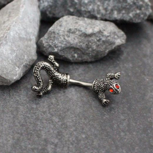Lizard Rook Jewelry, Rook Piercing, Belly Bar, Belly Button Rings, Navel Jewelry, Navel Bar, Eyebrow Barbell, Eyebrow Jewelry, Lizard Snake Gecko