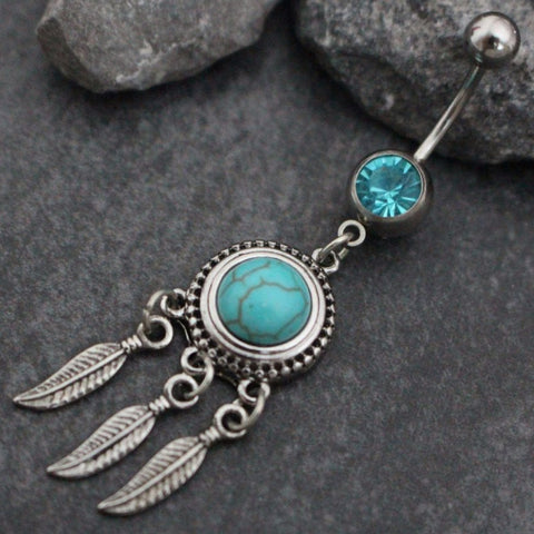 Turquoise Dreamcatcher Dangle Belly Button Jewelry, Belly Button Ring, Navel Ring, Navel Piercing in Silver Bohemian Boho Stone Opal