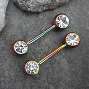 Rainbow Filigree Nipple Rings