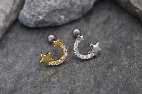 Star Cartilage Piercing Jewelry, Helix Earring, Tragus Piercing, Conch Stud
