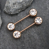 Rose Gold Crystal Nipple Barbell