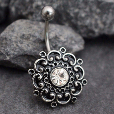 Precious Victorian Flower Belly Button Ring Stud, Belly Bar with Black Enamel and Clear Crystals