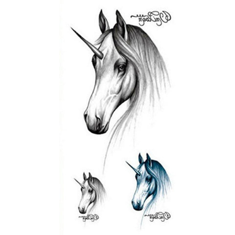 Cute Realistic Black Unicorn Horse Temporary Tattoo Ideas for Women Sketch Drawing - www.MyBodiArt.com