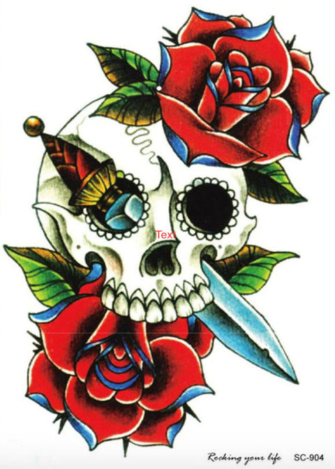 Dacio Candy Skull & Roses Tattoo