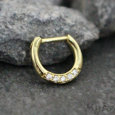 Gold Septum Clicker with Crystals