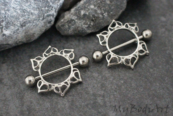 14G Flaming Sun Nipple Ring Shield in Silver