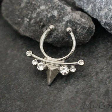 Spearhead Crystal Fake Septum Ring in Silver