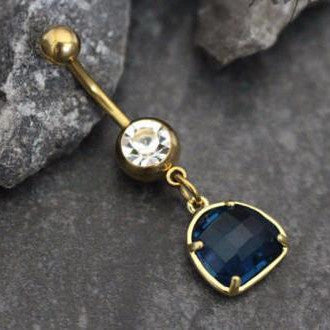 Lapis Lazuli Gemstone Belly Button Ring in Gold