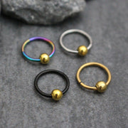 Gold Bead Titanium 16G Segment Ring for Septum Ring, Cartilage Ring, Helix Ring, Tragus Piercing, Conch Hoop, Rook Earring, Daith Piercing, Nipple Ring, Lip Ring, Eyebrow Ring, Bridge Piercing, Hinged Septum Ring