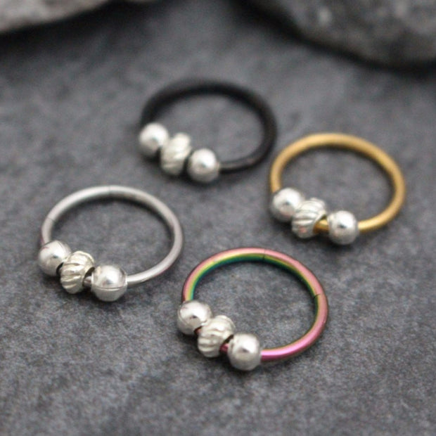 3 Silver Beaded Titanium 16G Segment Ring for Septum Ring, Cartilage Ring, Helix Ring, Tragus Piercing, Conch Hoop, Rook Earring, Daith Piercing, Nipple Ring, Lip Ring, Eyebrow Ring, Bridge Piercing, Hinged Septum Ring