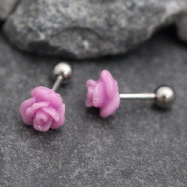 Magneta Rose 16G Silver Barbell for Cartilage Piercing Jewelry, Conch Earring, Helix Stud, Tragus Earring, Cartilage Earring, Conch Piercing, Helix Jewelry, Tragus Piercing, Cartilage Jewellery