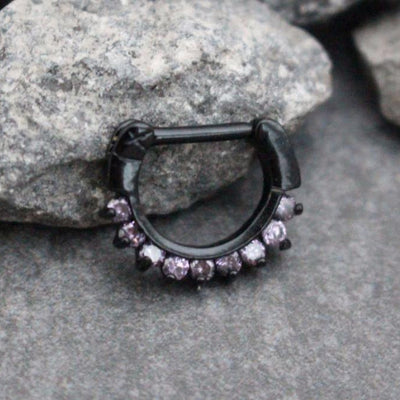 Black Septum Ring, Daith Earrings, Daith Jewelry, Septum Jewelry 16G, Conch Earring, Rook Piercing, Conch Piercing, 16 Gauge Purple Crystals
