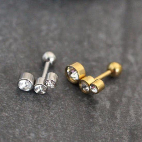 Triple Crystal Straight Barbell for Tragus, Cartilage, Helix