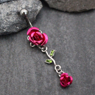 Rose Belly Button Jewelry in Pink with Silver 316L Surgical Stainless Steel