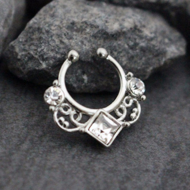 Silver Fake Septum Piercing Jewelry at MyBodiArt.com