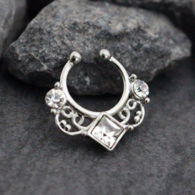 Silver Crystal Fake Septum Ring, Faux Septum Piercing, Septum Jewelry, Septum Jewellery, Septum Clip On