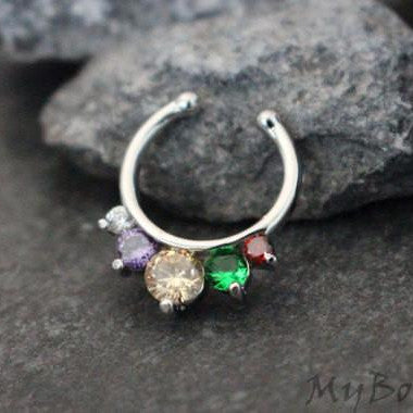 Rainbow Crystal Fake Septum Ring in Silver