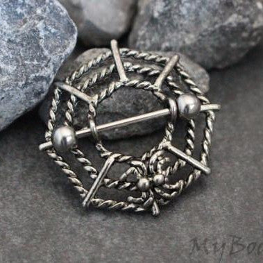 Spider Web Nipple Ring, Nipple Jewelry, Nipple Piercing, Nipple Shield, Nipple Jewellery, Tribal Vintage Tibetan Silver