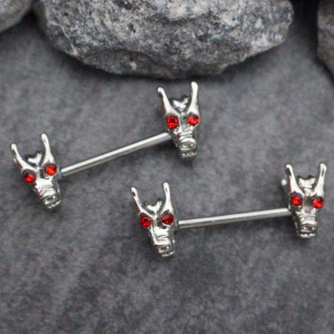 Tribal Dragon 14 Gauge Straight Barbell for Nipple Barbell, Nipple Ring, Bridge Piercing Jewelry, Nipple Jewelry, Nipple Piercing Jewelry, Nipple Bar