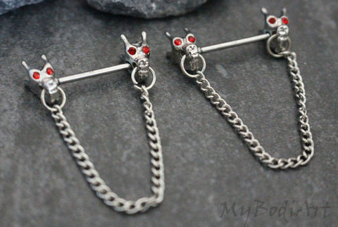 Tribal Dragon Nipple Rings, Bridge Piercing Jewelry