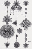 Mandala Tattoo, Temporary Tattoo Mandala, Lotus Tattoo, Aztec Tattoo, Tribal, Black and White, Henna Art, Maori Art, Polynesian