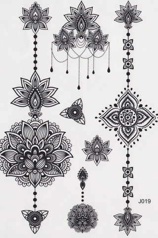 Black Tribal Lotus Temporary Tattoo, Black Henna Boho ...