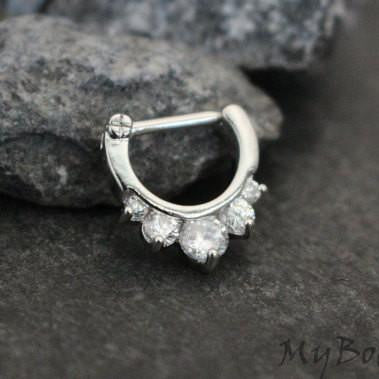 Silver Septum Clicker, Crystal Daith Piercing Jewelry