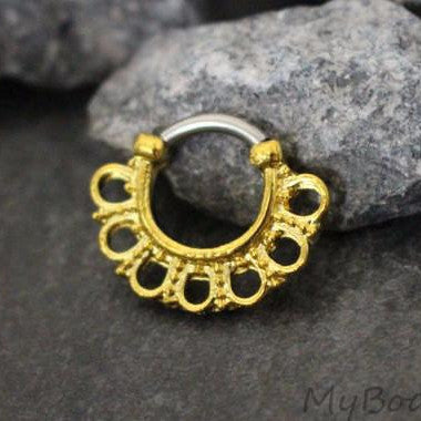 Septum Piercing, Tribal Septum Ring Gold, Daith Piercing, Daith Hoop, Rook Earring, Rook Hoop, Nipple Hoop, Segment Ring, Captive Bead Ring